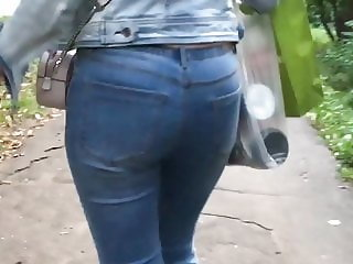 Sexy ass in tight blue jeans