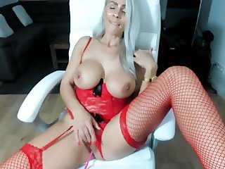 Milf fingers in Red Stockings