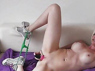 Busty Mom Playing with Her Pussy Using Dildo