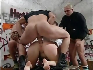 Rough vintage gangbang in a bar