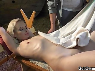 Smalltits euro sub cums while restrained