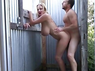 My Busty Mom Gets Fuck Out Neighbor in Shower Outdoor