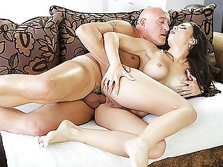 OLD4K. Old buddy ejaculates in chick's open mouth after...