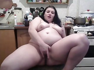 Ukrainian woman squirting on the kitchen