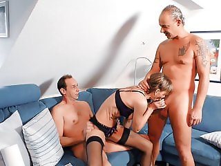 Old German lady pussy fucked hard in steamy MMF threesome