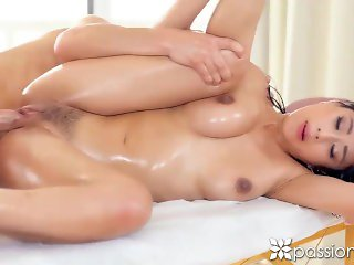 PASSION-HD Slippery rub down massage FUCK with busty asian