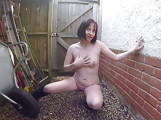Skinny Wife Naked in Boots backyard