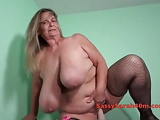 Big dildo meets Big Tits Sarah
