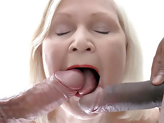 Black male escort joins to a mature couple