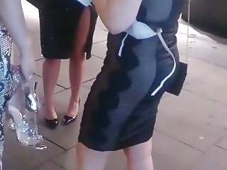 Candid Hot Asian Teen & Sexy Blonde In Tight Dress Nice Ass