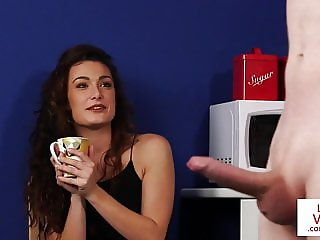 CFNM housewife instructs guy to jerkoff