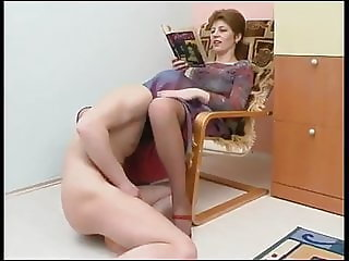 sniffing and licking pussy in pantyhose