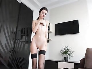 Skinny girl shows her slim body and small tits