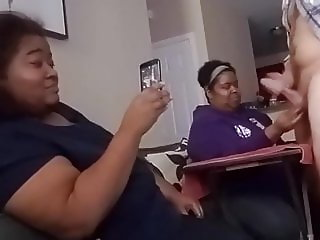 Wife jerks off Hubby in front of house guest