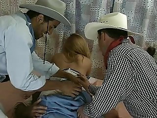 Milena Alanes in a gangbang with 3 guys.
