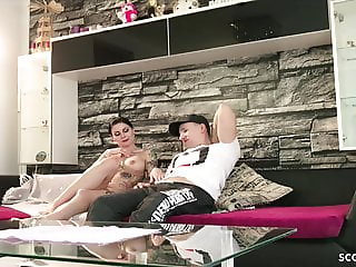 GERMAN SISTER CAUGHT STEP BRO WATCH PORN AND HELP WITH FUCK