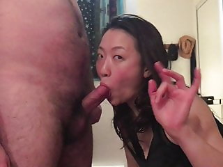 Japanese cumslut wife sucks cock back for a second round