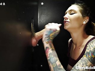 SLENDER TATTOOED BEAUTY EATS CUM IN GLORYHOLE
