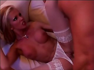 Delicious blonde nurse in white stockings is nicely fucked