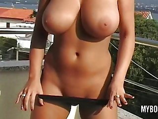 Busty babe Kora Kryk naked on public in Croatia