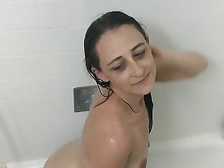 Wife dancing in the shower