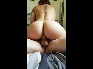 Big ass wife rides dick- lots of pussy juice