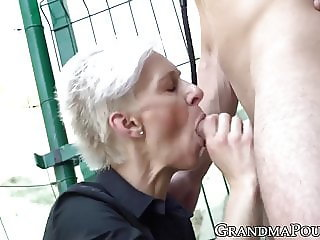 Granny femdom wanks off before riding caged cock