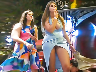 party girl with upskirt and tits