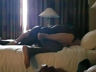 Black cuck jerking off to his wife getting Blacked