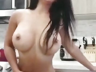 Milf dancing in kitchen