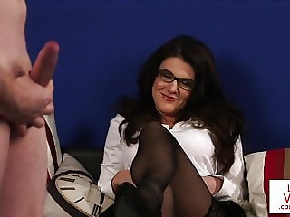 CFNM spex babe blackmails sub guy in JOI