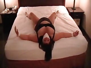 BBW Elane tied and gagged on bed