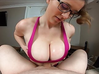 Busty Milf titty fucks her her Personal Trainer