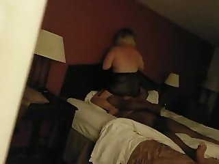 A hubby spies on his wife for the first time with a black