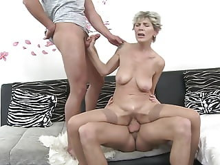 GILF gets hard taboo sex with two boys