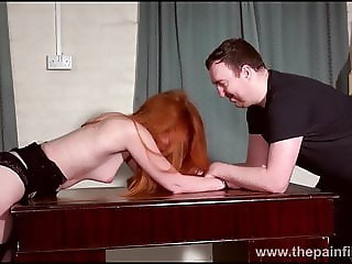 Redhead submissive Ellarnas spanking and erotic domiation