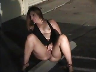 Drunk nympho masturbates in the street