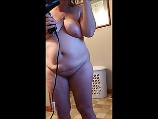 BBW Wife Blow Drying Her Hair