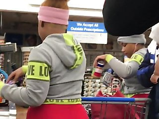 Slo mo of barely 18 ebony teen vpl and wedgie