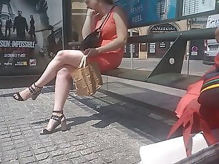Sexy legs ... waiting for the bus