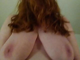 BBW WIFE BIG TITS REDHEAD HANGERS FUCKING AND RIDING MY COCK