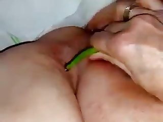 Fat Turkish woman fucking eggplant
