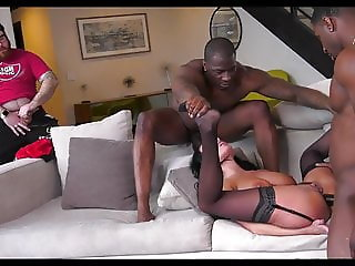 Anissa Kate Has Cuckold Eat Two BBC Loads from her Tits