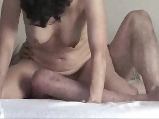 Senior hairy pussy cowgirl riding husband, bouncing tits