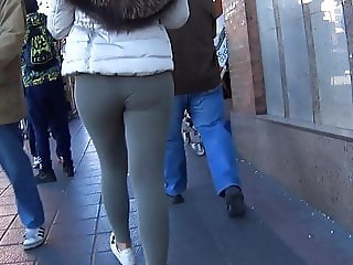 More Firm Ass Walking In Tight Grey Gym Leggings VPL