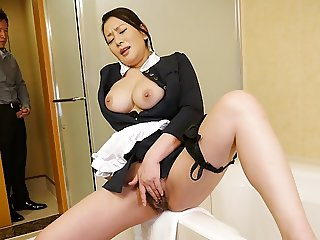 Japanese maid, Rei Kitajima was caught masturbating at work,