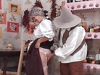 Hungarian gran Ibolya in national clothes fucks her grandson