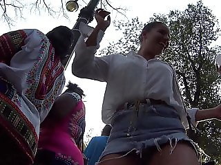 Upskirt with Lot of Drink Dancer