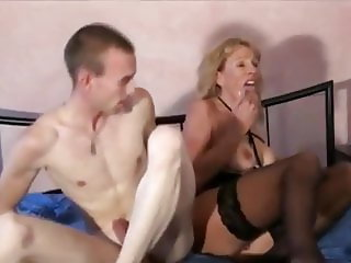 Mature Busty MILF Takes Huge Creampie By Young Boy Big Dick