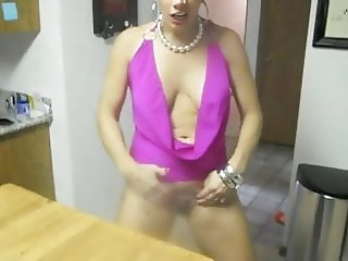Blond wife exhibits herself for husband